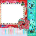 Trame de photo ou fond florale minable de Scrapbooking Images stock