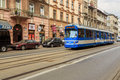 stock image of  Trams in old part of Krakow at summer.