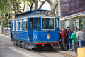 Tramvia blau in barcelona spain may blue tramway may spain funicular railway connects funicular del tibidabo and Stock Photo