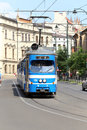 Tramway of old model in cracow poland on the street Royalty Free Stock Photo