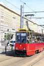 Tramway of the old model on the street in warsaw arrives stop Royalty Free Stock Photo