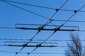 Tramway power line over a blue sky Royalty Free Stock Photography