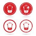 Tramway set in red color illustration