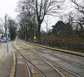 Tramway tracks with switches at separate lane alley and vienna austria Stock Image