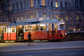 Tramway in Vienna in the first District at night Royalty Free Stock Photo