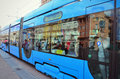 Tramway in zagreb central market mirrored windows croatia Royalty Free Stock Photography