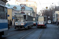 Tramways in Moscow Stock Image