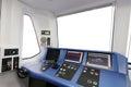 Trane operator s cab interior of a Stock Photos