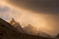 Trango Towers at Sunset Stock Images