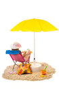 Tranquil beach with woman in chair pink and under yellow parasol isolated over white background Stock Images
