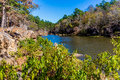 Tranquil outdoor scene in oklahoma a autumn at robbers cave state park Royalty Free Stock Photography