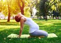Tranquil pregnant woman sitting in yoga pose outdoors Royalty Free Stock Photo
