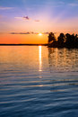 Tranquil view of a beautiful sunset in sweden one evening july Royalty Free Stock Photography