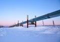 Trans alaska pipeline sunrise in winter at Stock Image