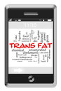 Trans Fat Word Cloud Concept on Touchscreen Phone Royalty Free Stock Photography