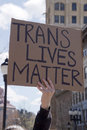 Trans lives matter sign asheville north carolina usa april close up of a saying held high at a hb protest rally of the new nc law Stock Image
