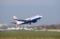 Transaero airplane taking off in kiev airport ukraine Stock Photo