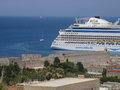 Transatlantic in rhodes island greece a boat harbour Stock Photo