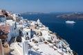 Transatlantic santorini a boat on the caldera fira housing cyclades greek islands greece Royalty Free Stock Photography