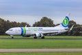 Transavia jet reverse thrust Royalty Free Stock Photo