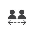 Transfer between user accounts icon vector, filled flat sign, solid pictogram isolated on white. Symbol, logo illustration.