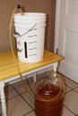 Transferring a rye pale ale to the secondary into fermenter after week in primary fermenter is plastic carboy Royalty Free Stock Photo