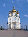 Transfiguration cathedral in khabarovsk the cathedral with height of meters is the tallest church in russian far east and third Stock Photos