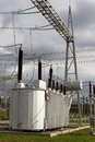 Transformer electrical power in high voltage substation Stock Image