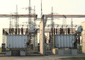 Transformer station with conducting electrical current Royalty Free Stock Photo