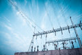 Transformer substation against a blue sky electricity background Royalty Free Stock Images