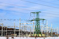 Transformer substation industrial power supply station under blue sky Stock Photo