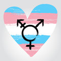 Transgender pride flag in a form of heart with transgender symbo