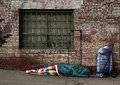 Transient Homeless Soul Sleeping on the Streets Stock Image