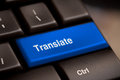 Translate computer key in showing online translator Royalty Free Stock Photo