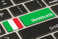 Translate concept on keyboard with Italian flag, 3D rendering