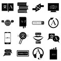 Translator profession icons set, simple style