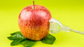 Translucent plug is connected to the red apple on green backgrou background concept of and clean power made of biomass Royalty Free Stock Photo