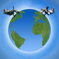 Transmission autour du globe Photo stock