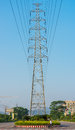Transmission electric power poles the steel are in town Stock Photography
