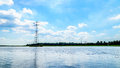 Transmission Lines crossing the Veluwemeer Lake supported by large Transmission Towers Royalty Free Stock Photo
