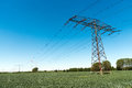 Transmission tower with power lines Royalty Free Stock Photo