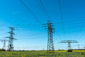 Transmission towers with power lines Royalty Free Stock Photo