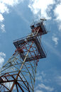 Transmitter antenna tower Royalty Free Stock Photo