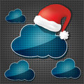 Transparency clouds with santa claus hat Royalty Free Stock Image