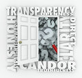 Transparency door openness clarity candor straightforward opening to show a magnifying glass on question marks with other words Royalty Free Stock Photos