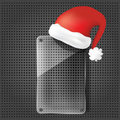 Transparency glass plate with santa claus hat Stock Photo