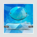 Transparency plates on the abstract blue geometric background wi with triangular polygons Royalty Free Stock Photo