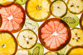 Transparency sliced fruits on white background Royalty Free Stock Photo