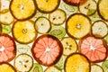 Transparency sliced fruits on white background rings of grapefruit kiwi lemon and orange Stock Image