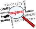 Transparency word magnifying glass sincerity openness clarity searching for truth accuracy directness fairness honesty Royalty Free Stock Photography